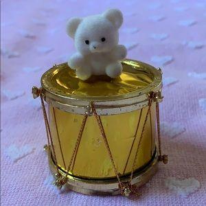 "2.5"" white flocked bearvon drum 🥁 decoration Vtg"